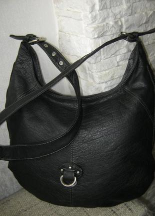 Шикарная кожаная сумка торба кроссбоди идеальное состояние длинная ручка через плечо