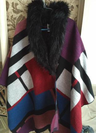 Пальто плед, пальто пончо atmosphera