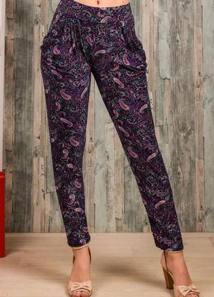 Яркие женские лёгкие летние штаны с карманами размер 44-48