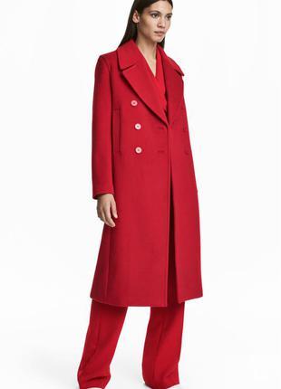 Шикарное шерстяное пальто h&m