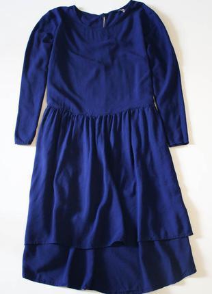 Синее ассиметричное миди платье h&m