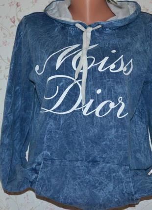 Модный джинсовый батник кенгуру miss dior