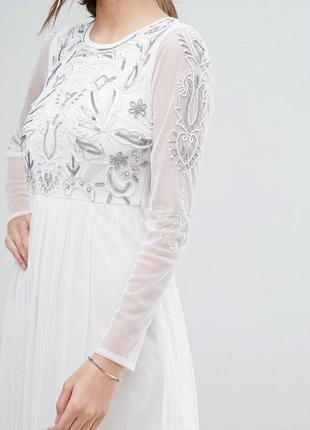 Boohoo розкішна біла сукня на випускний бісер паєтки доставка сутки