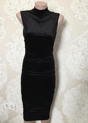 Велюровое платье миди/ бархатное платье