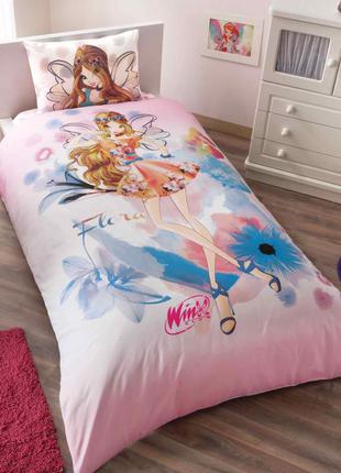 Детское постельное белье tac winx flora water colour постель винкс феи