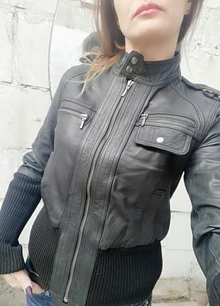 Кожаная куртка натуральная kookaї оригинал размер s ,m