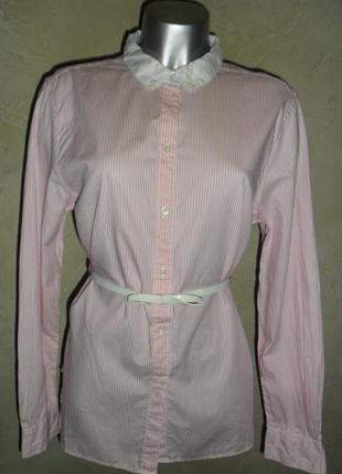 Стильная розовая хлопковая в полоску офисная ровная рубашка aigle m-l 46
