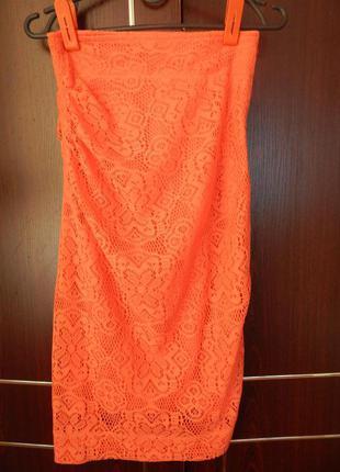 Коралловая изысканная юбка