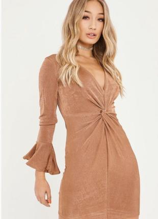 Шикарное платье с узлом и рюшами на рукавах, облегающее платье мини
