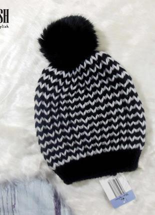 Вязанная шапочка без флиса, зима, бубон натуралочка
