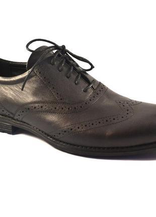 Мужские туфли большого размера кожаные броги rosso avangard felicete onyx black bs