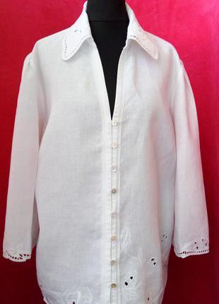 Льняная белоснежная рубашка,прошва