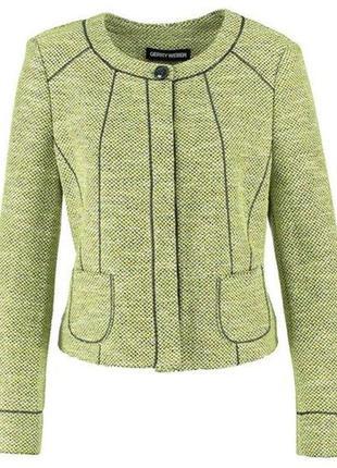 Красивый трикотажный лаймовый зеленый пиджак жакет gerry weber xl-xxl 16 батал