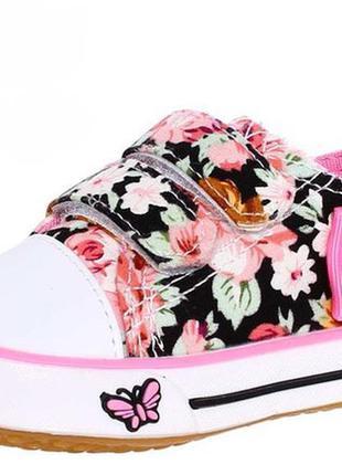 Кеды для девочки в цветах на липучках
