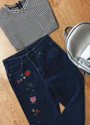 Крутые mom джинсы с вышевкой, размер s + подарок