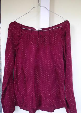 Блуза springfield винного цвета в белый горошек с длинным рукавом