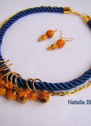 Колье и серьги: синий и желтый