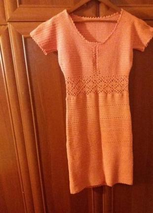 Женское летнее вязанное платье кораллового цвета 42-44. hade made