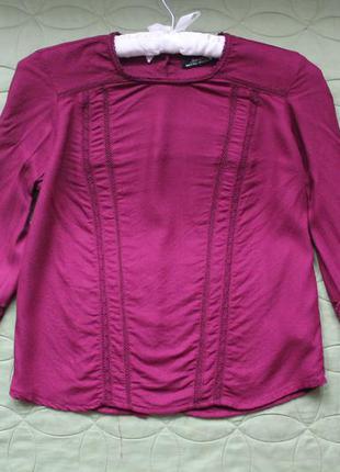 Красивенная блуза марсала с ажурными вставками вышиванка рубашка