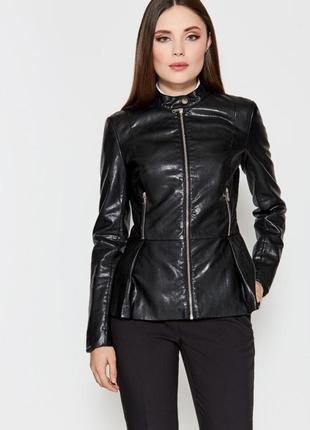 Чёрная куртка с баской кожзам кожа s m