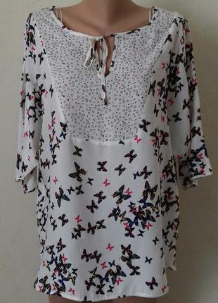 Вискозная блуза с принтом бабочки