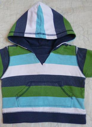 Спортивная кофта в полоску с капюшоном 3-6 м (см. замеры)