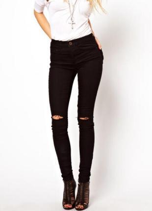 Рваные черные джинсы узкие prepaiir s размер