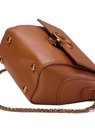 0eea91c6f8e8 ... Стильная кожаная женская светло-коричневая сумка кроссбоди ремешок  цепочка ручная работа3 фото ...