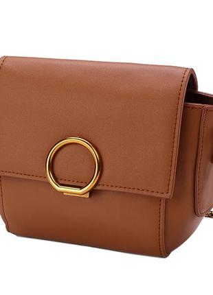 1705fcfc7981 Стильная кожаная женская светло-коричневая сумка кроссбоди ремешок цепочка  ручная работа