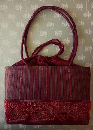 Сумка текстильная с бисером