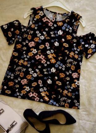 Блузка с открытыми плечами,цветочный принт f&f