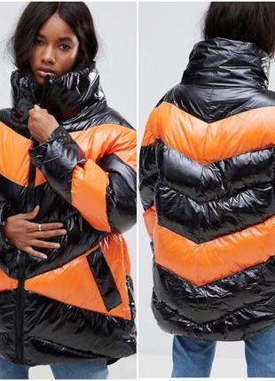 Куртка колорблок colourblock лаковая виниловая asos лак винил