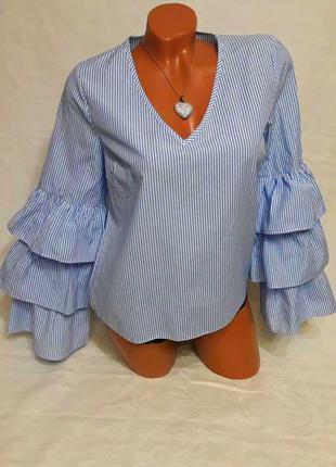 Голубая блуза в полоску, рукав воланами, рюшами, клешевый рукав. atmosphere