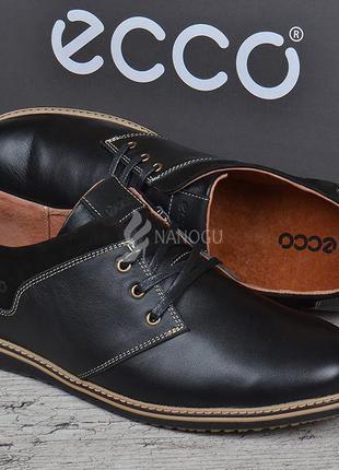 Туфли мужские кожаные ecco черные на шнуровке словакия экко комфорт4 фото