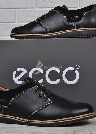 Туфли мужские кожаные ecco черные на шнуровке словакия экко комфорт5 фото