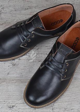 Туфли мужские кожаные ecco черные на шнуровке словакия экко комфорт2 фото