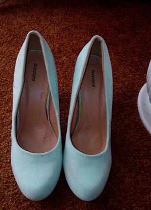 Замшевые мятные бирюзовые туфельки