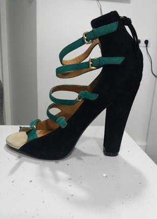 Zara замшевые босоножки р.37 бирюзовые черные пряжка модные прямой каблук