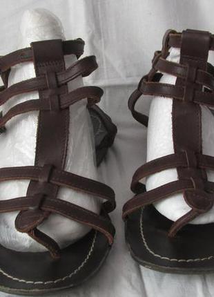 Коричневі шкіряні босоніжки-сандалі, ganet d, розмір 38, устілка 25 см., легкі