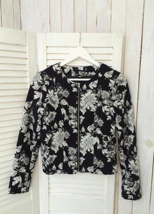 Стильный пиджак жакет  с цветочным принтом h&m