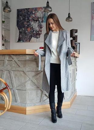 Женское пальто - кардиган под пояс без подкладки