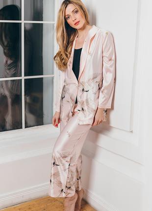 Домашний костюм с журавлями, розовый
