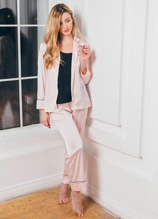 Атласный домашний костюм, розовый