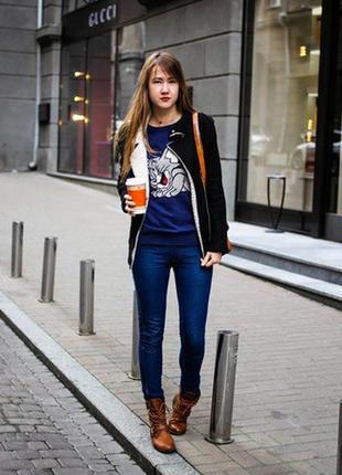 Темно синие джинсы скини hollister