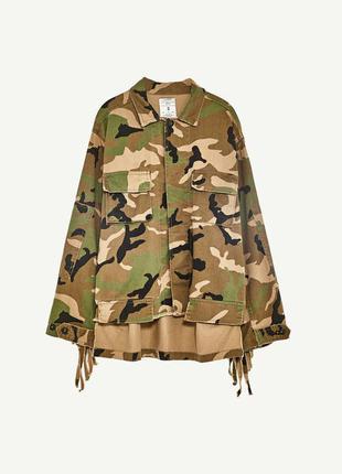 Камуфляжная куртка с бахромой и заклепками zara1