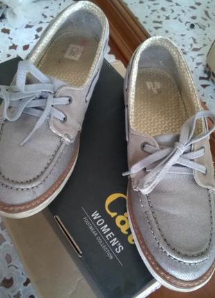 Топсайдеры, лоферы, спортивные туфли набук + текстиль (стелька 24,5) размер 38