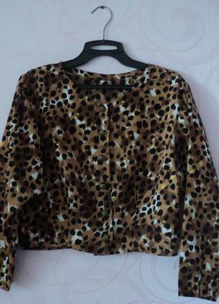 Винтажная рубашка, леопардовый принт, короткая рубашка с принтом, блуза хищный принт
