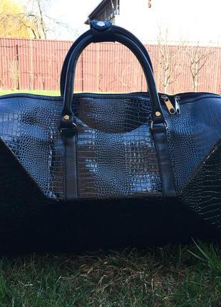 🔥эксклюзив! черная  богатая сумка дорожная из эко кожи ручная кладь дорожня сумка