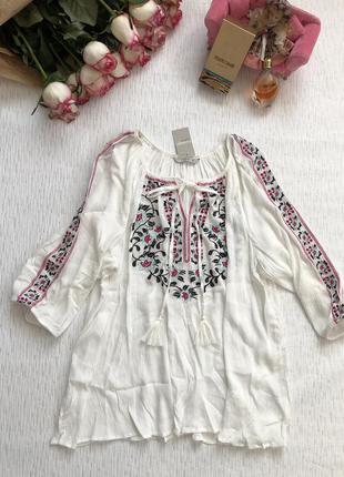 Белая блуза - вышиванка 20 - размер xl- xxl