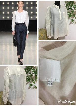 Фирменная, шелковая, базовая блуза, очень интересный крой, пышные рукавчики, 100% шёлк